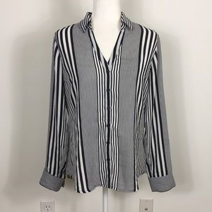 Express Black and White Striped Long Sleeve Blouse